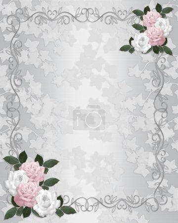 Photo pour Lierre et roses sur la composition de l'illustration de satin blanc pour arrière-plan, bordure, cadre, invitation de mariage ou modèle avec espace copie. - image libre de droit