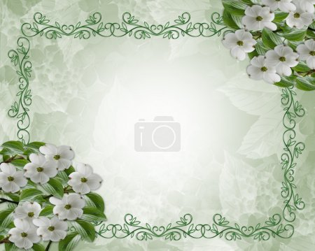 Photo pour Composition de l'image et l'illustration pour carte, faire-part, papeterie, page, arrière-plan ou bordure de fleurs de cornouiller blanc avec espace de copie - image libre de droit