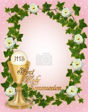Photo pour Composition image et illustration pour frontière, invitation d'abord Sainte communion ou cadre pour fille avec espace copie texte or - image libre de droit