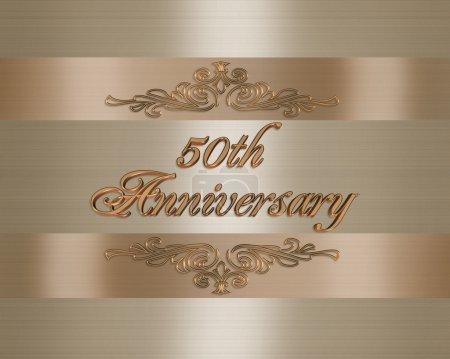 Photo pour 3D design élégant illustré pour formel 50e anniversaire carte d'anniversaire, de fond, de modèle ou d'invitation de mariage - image libre de droit