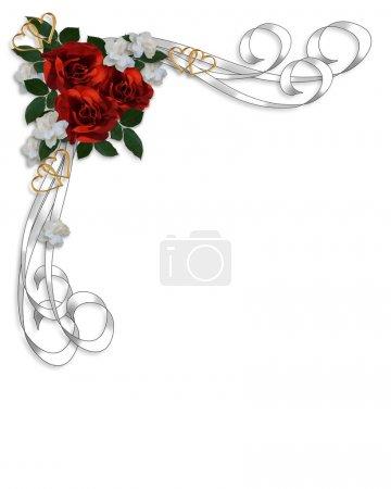 Photo pour Saint-Valentin ou fond d'invitation mariage, border, modèle ou cadre avec roses rouges, des rubans de satin blancs, copiez l'espace. - image libre de droit