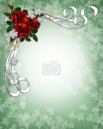 Photo for Valentine or wedding invitation background, border, template or frame with red roses, white satin ribbons, copy space. - Royalty Free Image