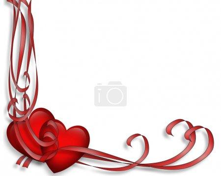 Photo pour Coeurs et rubans rouges illustrés pour carte de Saint-Valentin, bordure, cadre ou fond avec espace de copie . - image libre de droit