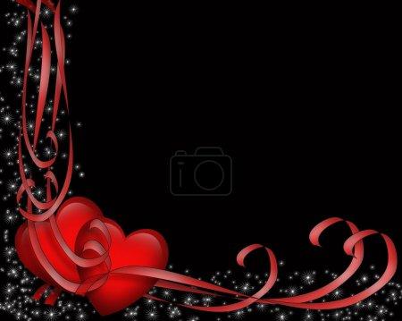 Photo pour Illustré de coeurs rouges et rubans pour la carte de la Saint-Valentin, bordure, cadre ou fond noir avec l'espace de la copie. - image libre de droit