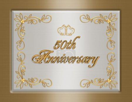 Photo pour 3D design élégant illustré pour carte de voeux officielle du 50e noces d'or anniversaire, arrière-plan, modèle ou invitation avec espace copie. - image libre de droit