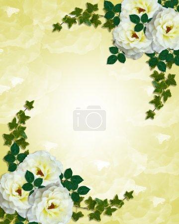 Wedding invitation white roses