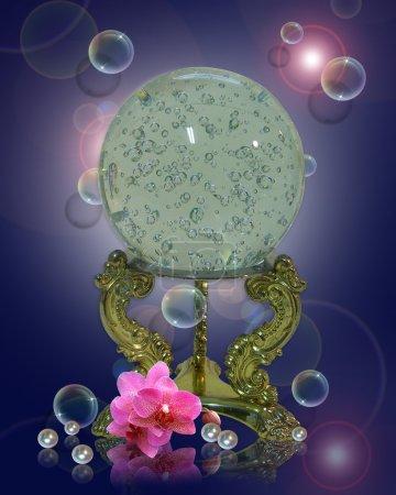 Crystal gazing ball magical