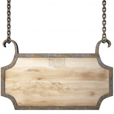 Photo pour Panneau en bois sur les chaînes. avec un tracé de détourage. - image libre de droit