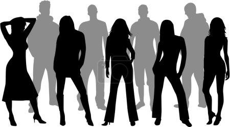 Friends - silhouettes, vectors work