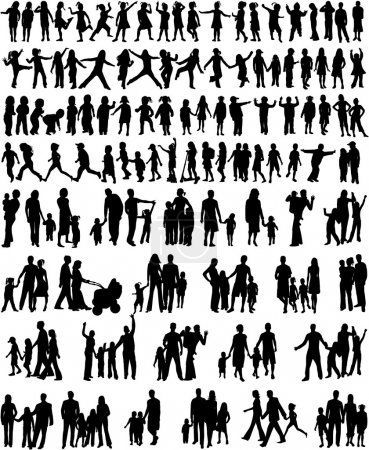 Illustration for Collection Of Family Silhouettes - Royalty Free Image