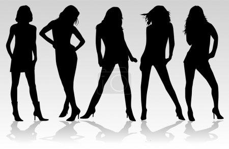 Illustration pour Belles femmes - mode - image libre de droit