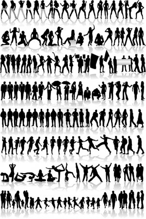 Illustration for Mix Silhouettes, vector work - Royalty Free Image