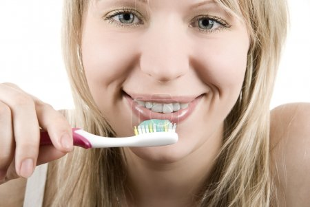 Woman tooth brush