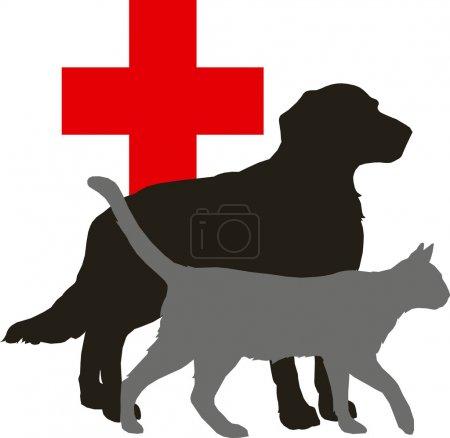 Illustration pour Illustration vectorielle - animal : chien et chat et croix rouge sur fond blanc - image libre de droit