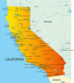 Vector color map of California state of usa