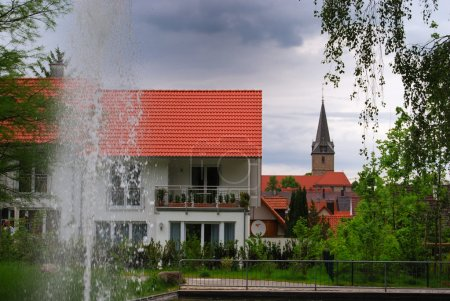 Fountain and small German town