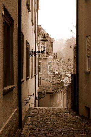 Empty street of Baden-Baden in sepia col