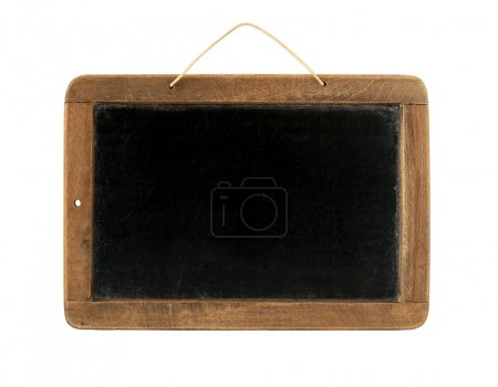 Photo for Old Time Slate Writing Tablet isolated on white - Royalty Free Image