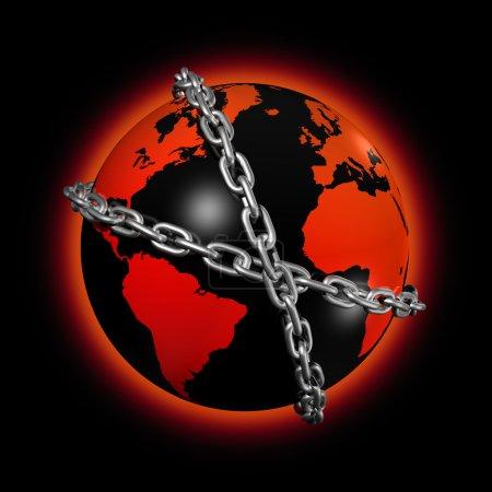 Chained world globe