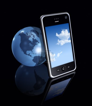 3D mobile phone and earth globe