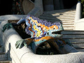 Antoni Gaudi lizard fountain in park guell, Barcelona, spain