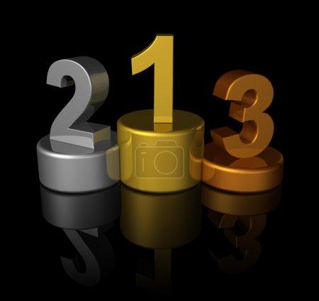 3D winners number podium