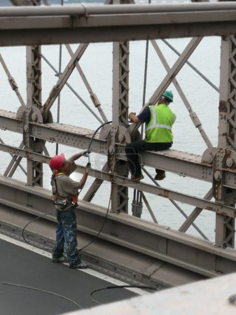 Workers on Brooklyn Bridge