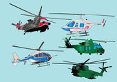 Helicopters collection in color