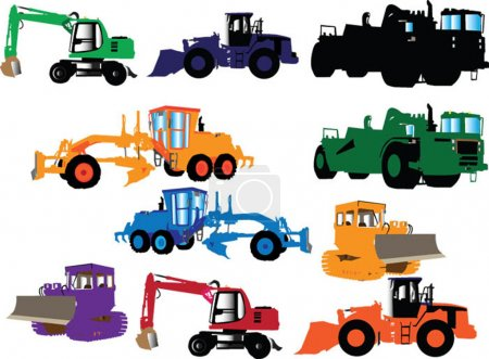 Illustration for Construction machines collection - vector - Royalty Free Image