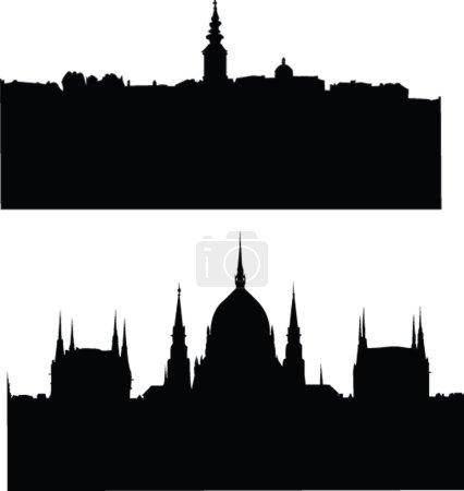 Illustration pour Panorams de silhouette citys - vecteur - image libre de droit