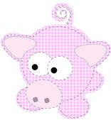 Patchwork Piggy Craft Cartoon Pig Vector