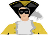 Head shot of stylish illustration of masked man wearing hat in period costume