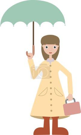 Girl going to school wears rain gear lun