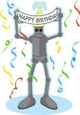 Robot kezében boldog születésnapot jele
