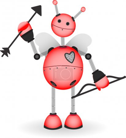 Cupid Robot hold bow arrow vector illust