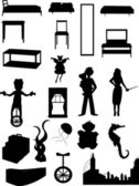 Random batch of silhouettes woman juggl