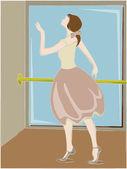 Ballerina posing next to pole and mirror