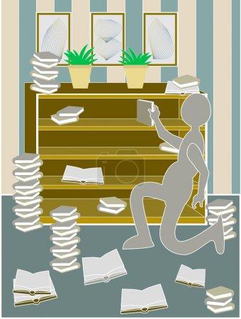 Messy bookcase