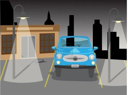 Illustration pour Voiture bleue dans un parking vide la nuit entourée de lumières et de bâtiments et d'ombres - image libre de droit