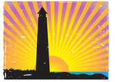 Silhouetted Lighthouse Sunset vector bac