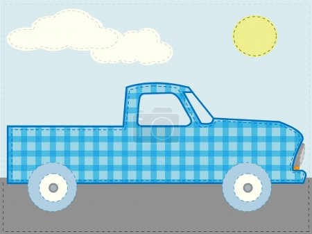 Craft patchwork blue cartoon truck road