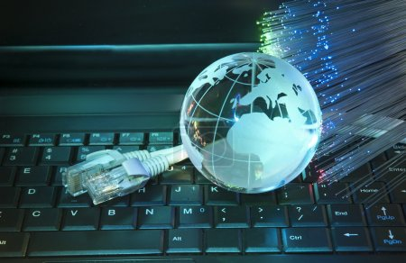 Photo for Technology earth globe against fiber optic background - Royalty Free Image