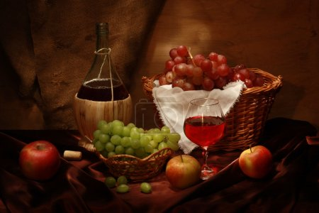 Photo for Retro still life with wine and fruits - Royalty Free Image