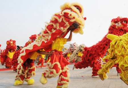 Chinese lion dance in parade