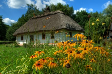 Ukrainian hut with a straw roof