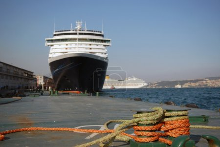 The big liner in port at a mooring