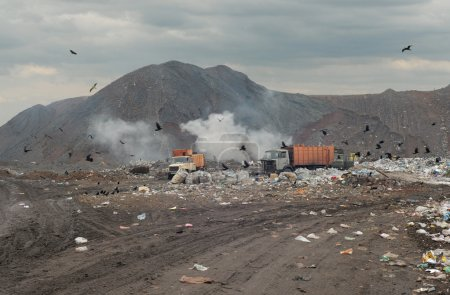 Garbage trucks on a city dump of dust