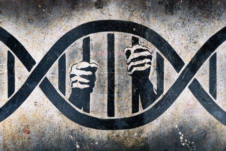 Photo for Drawing of human hands grabbing DNA cage bars - Royalty Free Image