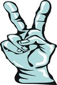 Hand gesturing peace