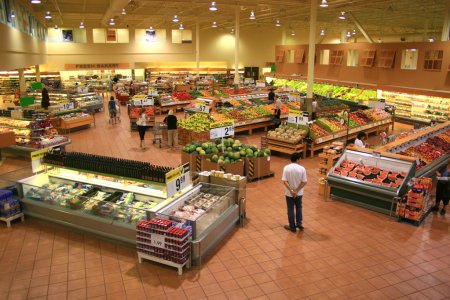 Photo for Produce Section of a Large Food Supermarket - Royalty Free Image